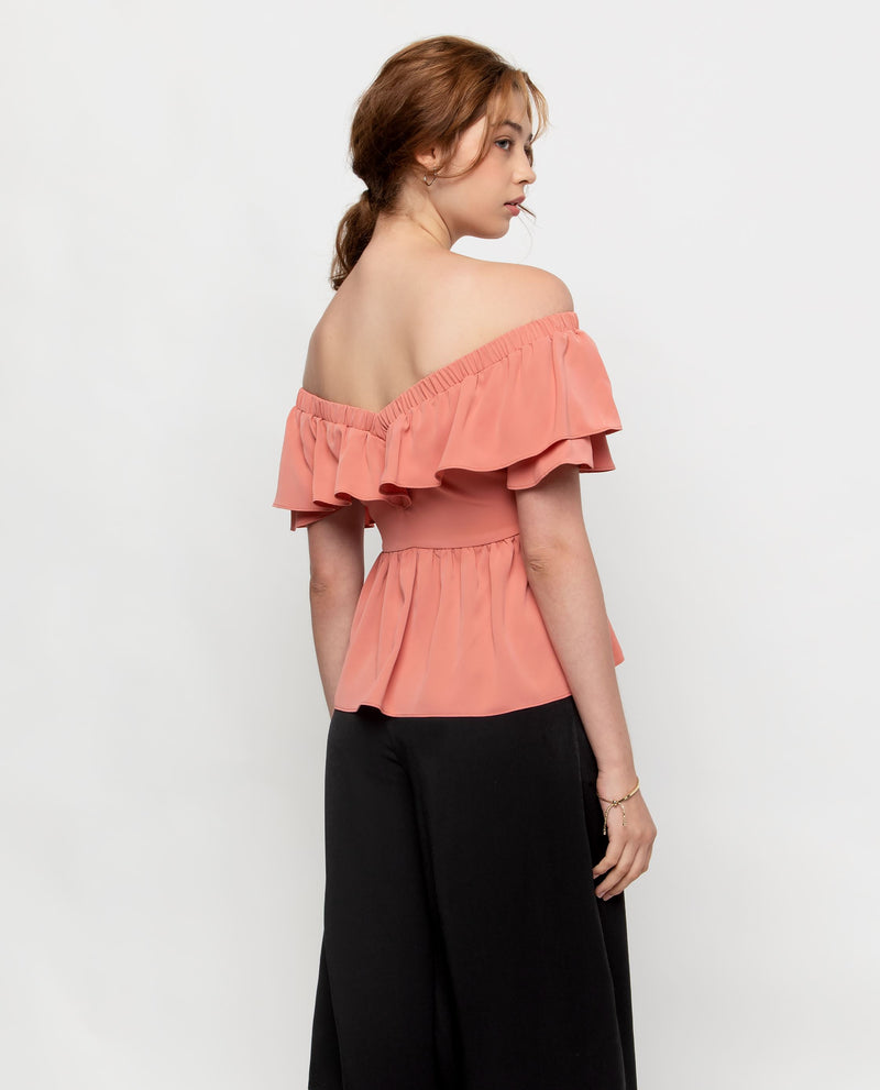 Gemma Ruffle Off Shoulder Top Tops OSMOSE-STORES