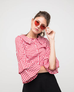 Gingham Sleeved Blouse Tops OSMOSE-STORES