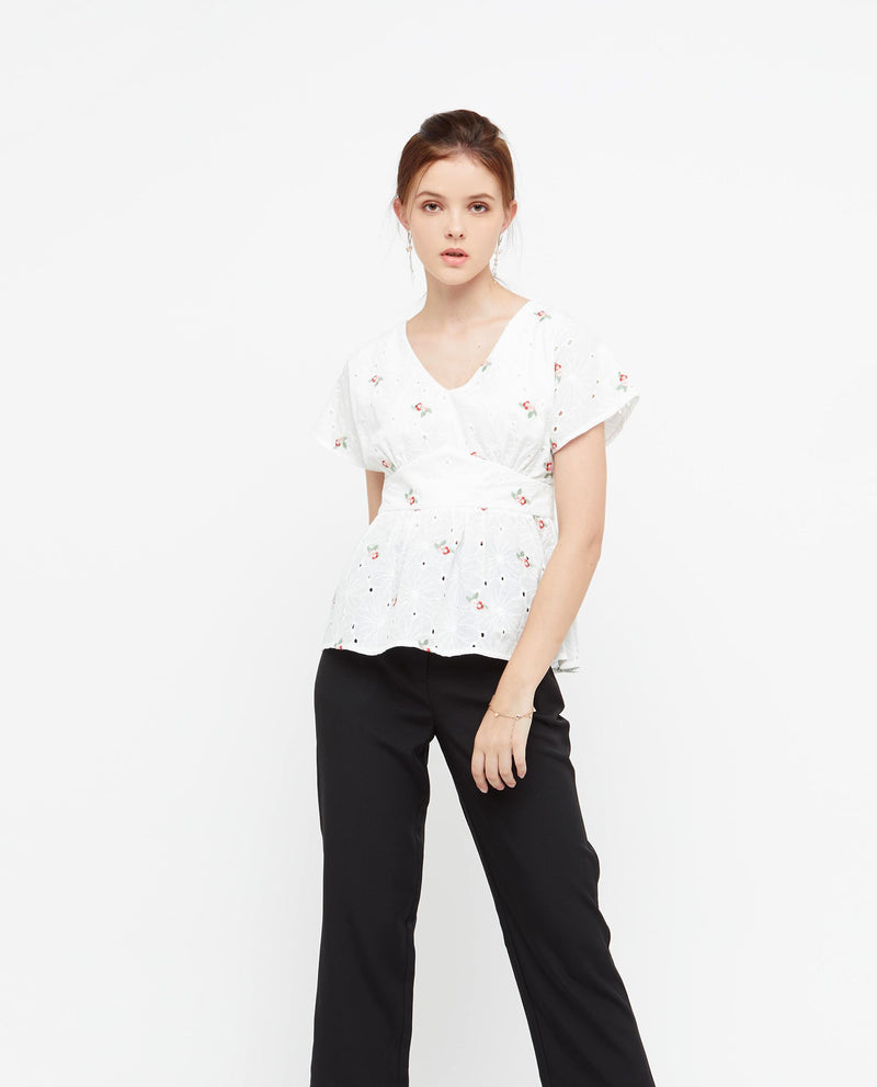 Glynda Embroidered Top Tops OSMOSE-STORES