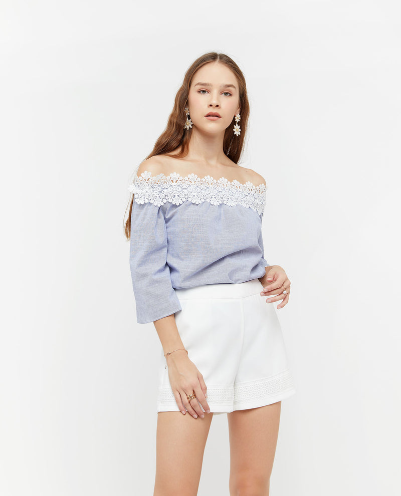 Hydeia Lace Trim Off Shoulder Top Tops OSMOSE-STORES