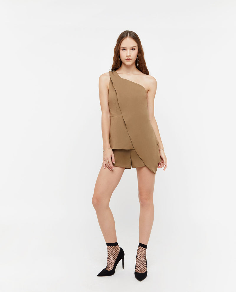 Hyunra Toga Side Romper One-piece suits OSMOSE-STORES XS Brown