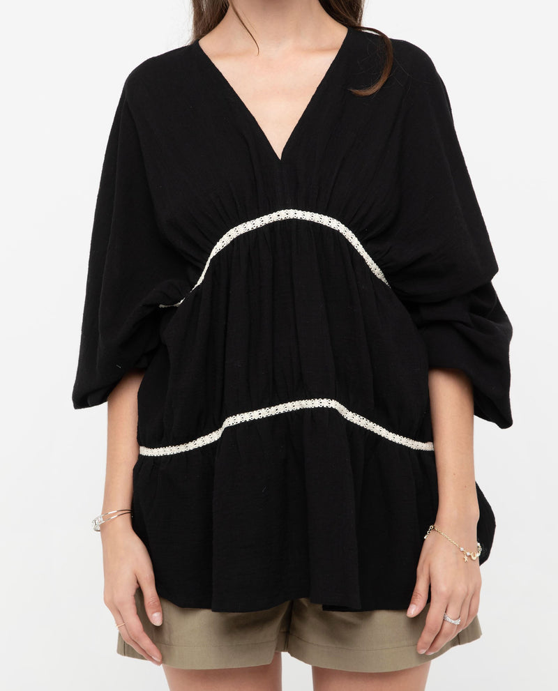 Inwo V Neck Gathered Top Tops OSMOSE-STORES