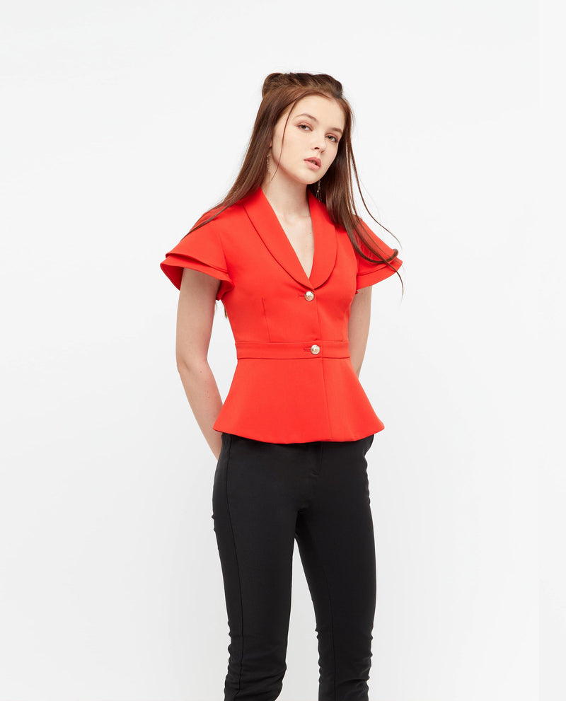Jania Peplum Top Tops OSMOSE-STORES XS Red