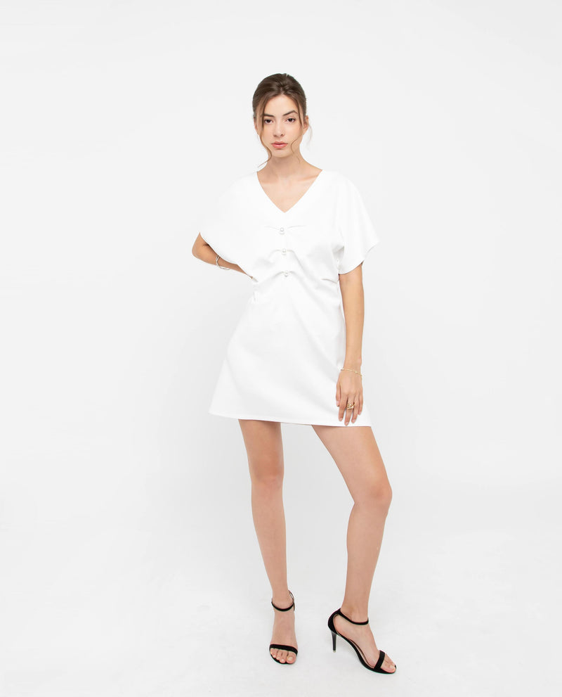 Jeren Pearl Shift Dress Dresses OSMOSE-STORES XS White
