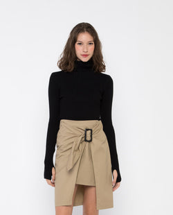 Joanna Wrap Trench Skirt Bottoms OSMOSE-STORES XS Brown