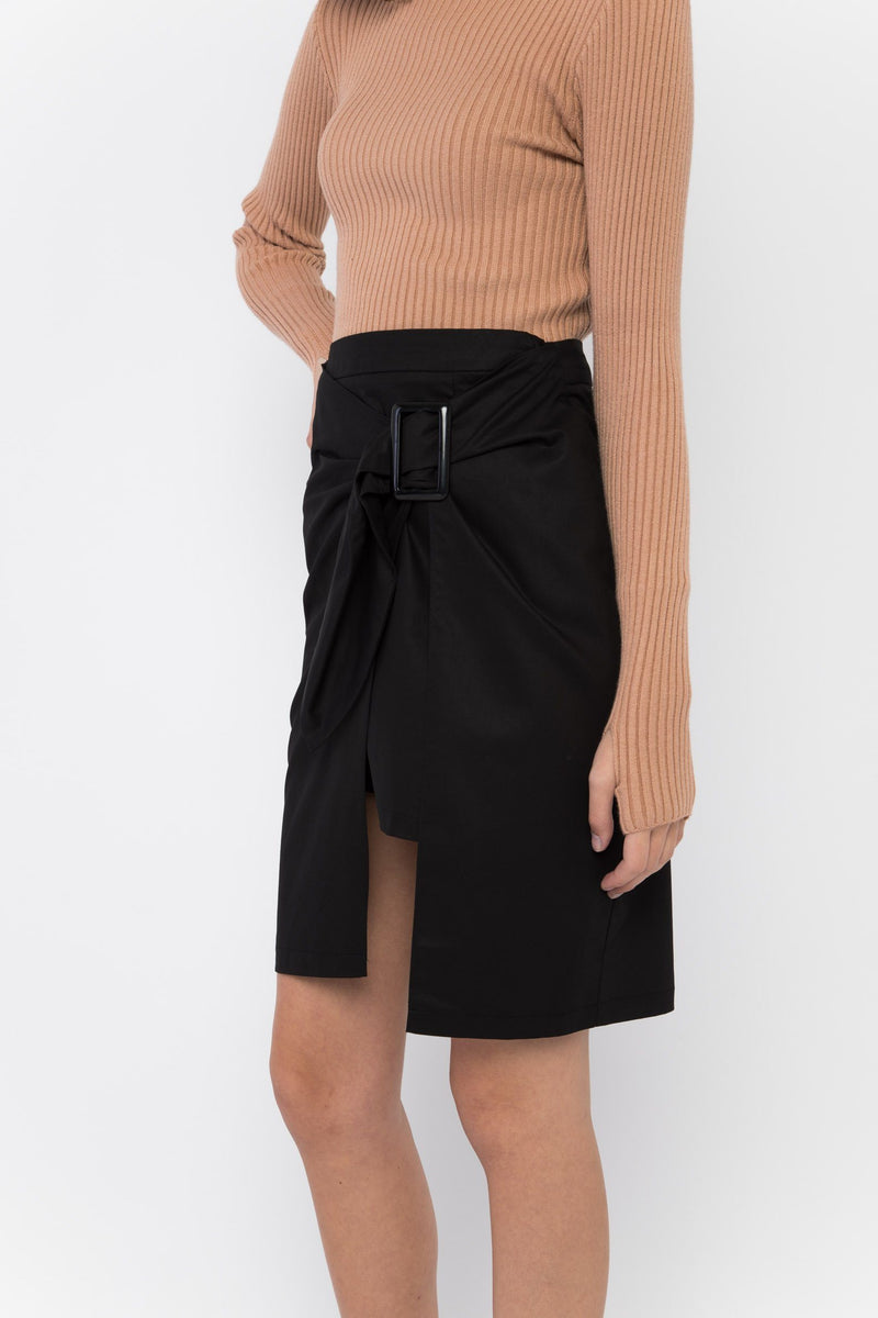 Joanna Wrap Trench Skirt Bottoms OSMOSE-STORES XS Black