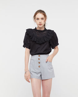 Jovien Broderie Lace Top Tops OSMOSE-STORES XS Black