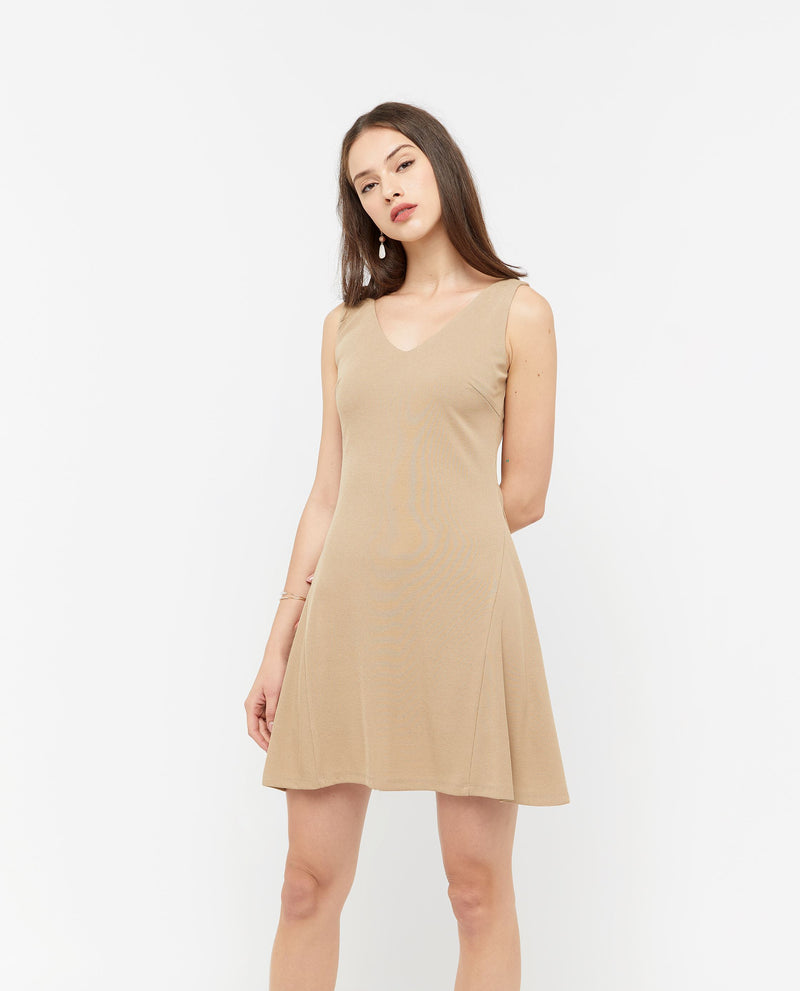 Jozell A Line Skater Dress Dresses OSMOSE-STORES S Brown