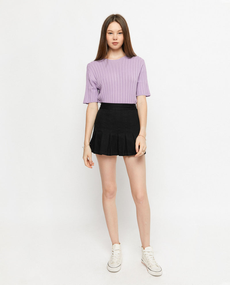 Korie Ribbed Knit Top Tops OSMOSE-STORES