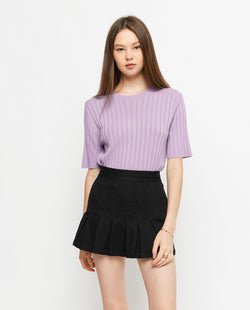 Korie Ribbed Knit Top Tops OSMOSE-STORES F Purple