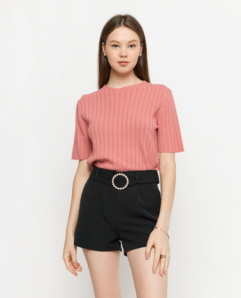 Korie Ribbed Knit Top Tops OSMOSE-STORES F Pink