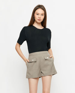 Korie Ribbed Knit Top Tops OSMOSE-STORES F Black