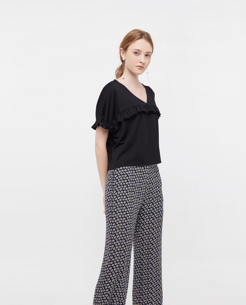 Liezel Printed A Line Pants Bottoms OSMOSE-STORES