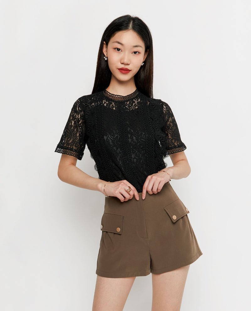 Liona Button Shorts Shorts OSMOSE-STORES XS Brown