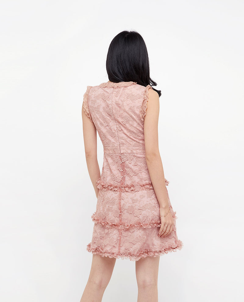 Marlowe Lace Ruffled Dress Short Dress OSMOSE-STORES
