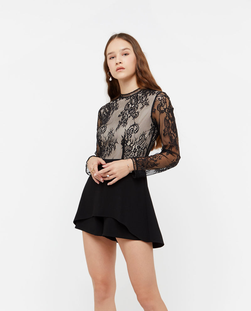 Maroze Lace Insert Romper One-piece suits OSMOSE-STORES