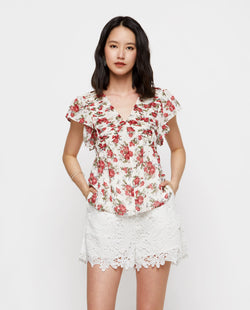 Melina Floral Pleated Top Tops OSMOSE-STORES