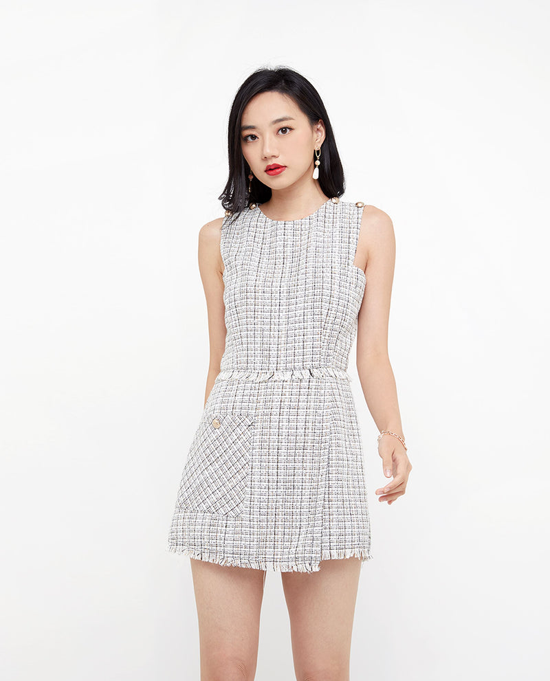 Milana Tweed Romper One-piece suits OSMOSE-STORES XS White