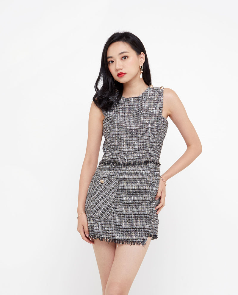 Milana Tweed Romper One-piece suits OSMOSE-STORES XS Black