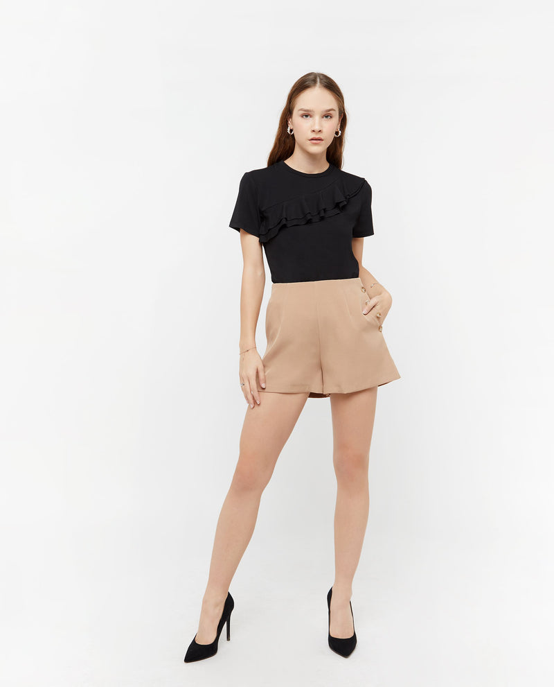 Neo A Line Button Shorts Bottoms OSMOSE-STORES XS Brown