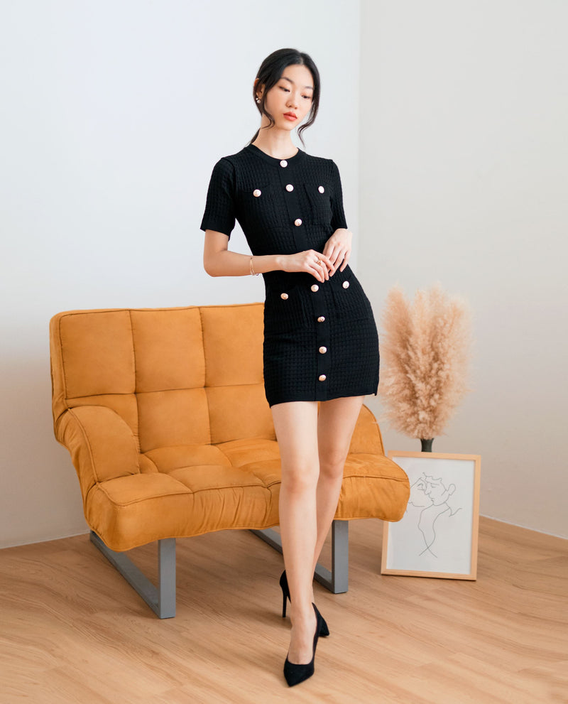 Nina Button Knit Dress Dresses OSMOSE-STORES
