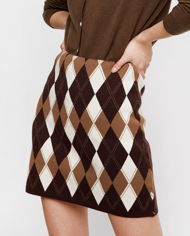 Nisa Checked Knit Skirt Midi Skirt OSMOSE-STORES