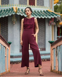 Pavia Lace Overlay Jumpsuit One-piece suits OSMOSE-STORES XS Red