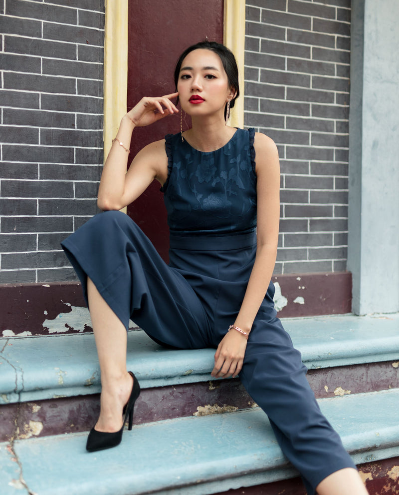 Pavia Lace Overlay Jumpsuit One-piece suits OSMOSE-STORES XS Navy