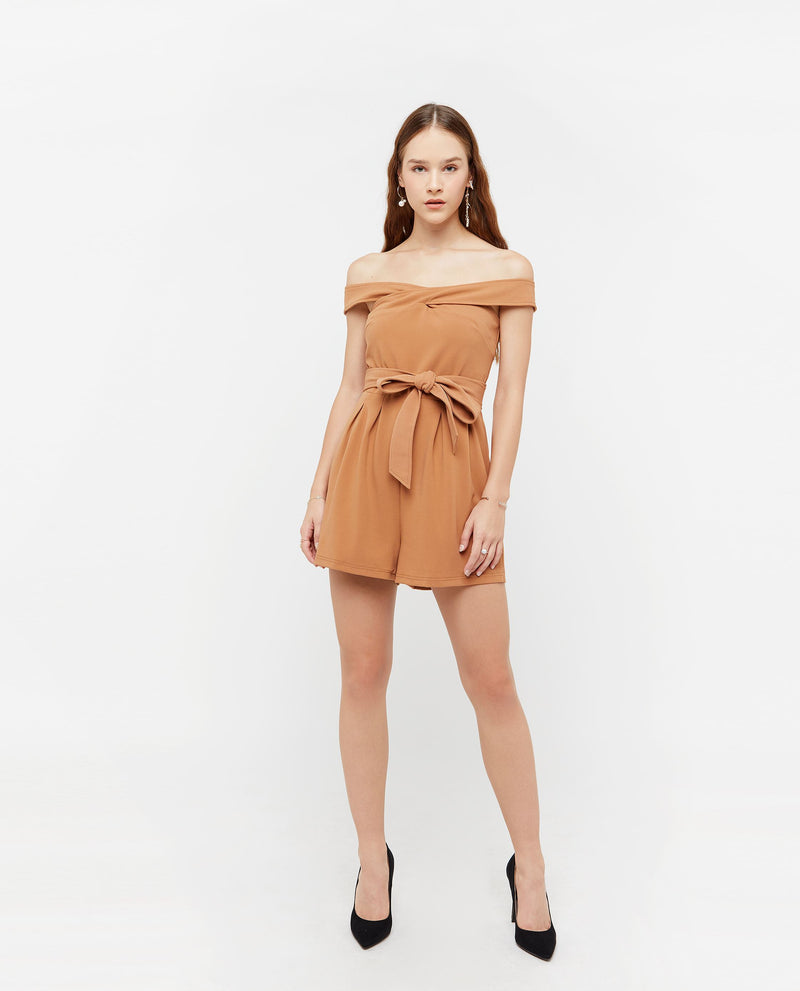 Peyyen Off Shoulder Romper One-piece suits OSMOSE-STORES XS Brown