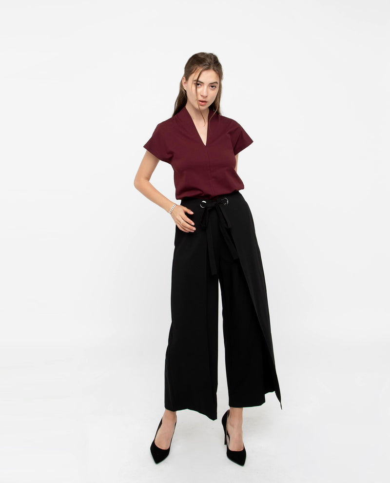 Prodeaux Asymmetrical Origami Pants Bottoms OSMOSE-STORES XS Black