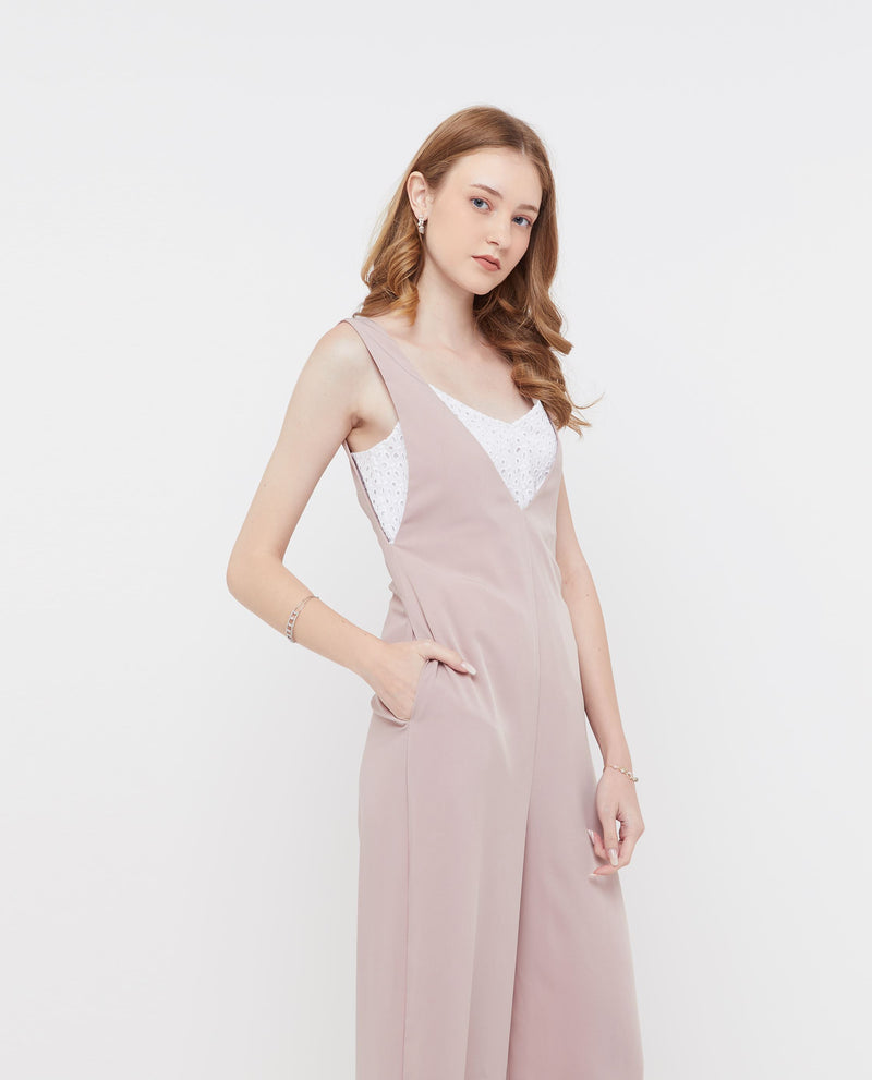 Quartzell V neck Jumpsuit One-piece suits OSMOSE-STORES XS Pink