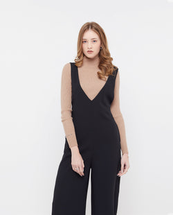 Quartzell V neck Jumpsuit One-piece suits OSMOSE-STORES XS Black