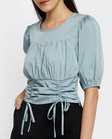 Rory Cinched-Waist Top Tops OSMOSE-STORES XS Blue
