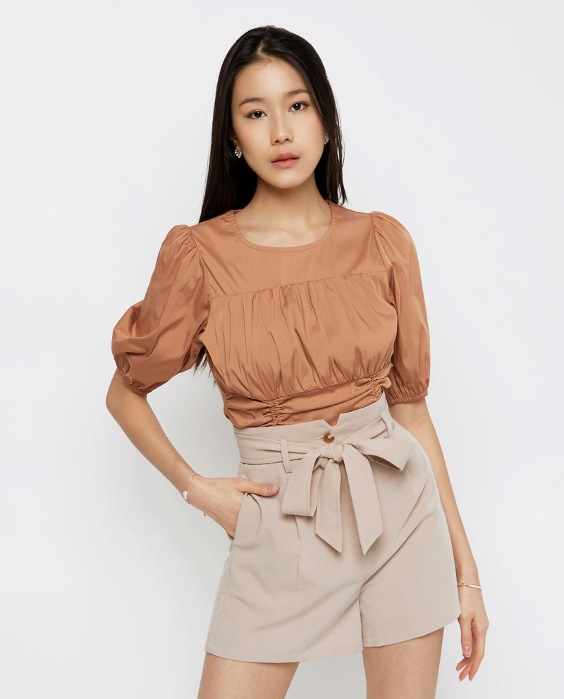 Rory Cinched-Waist Top Tops OSMOSE-STORES XS Brown