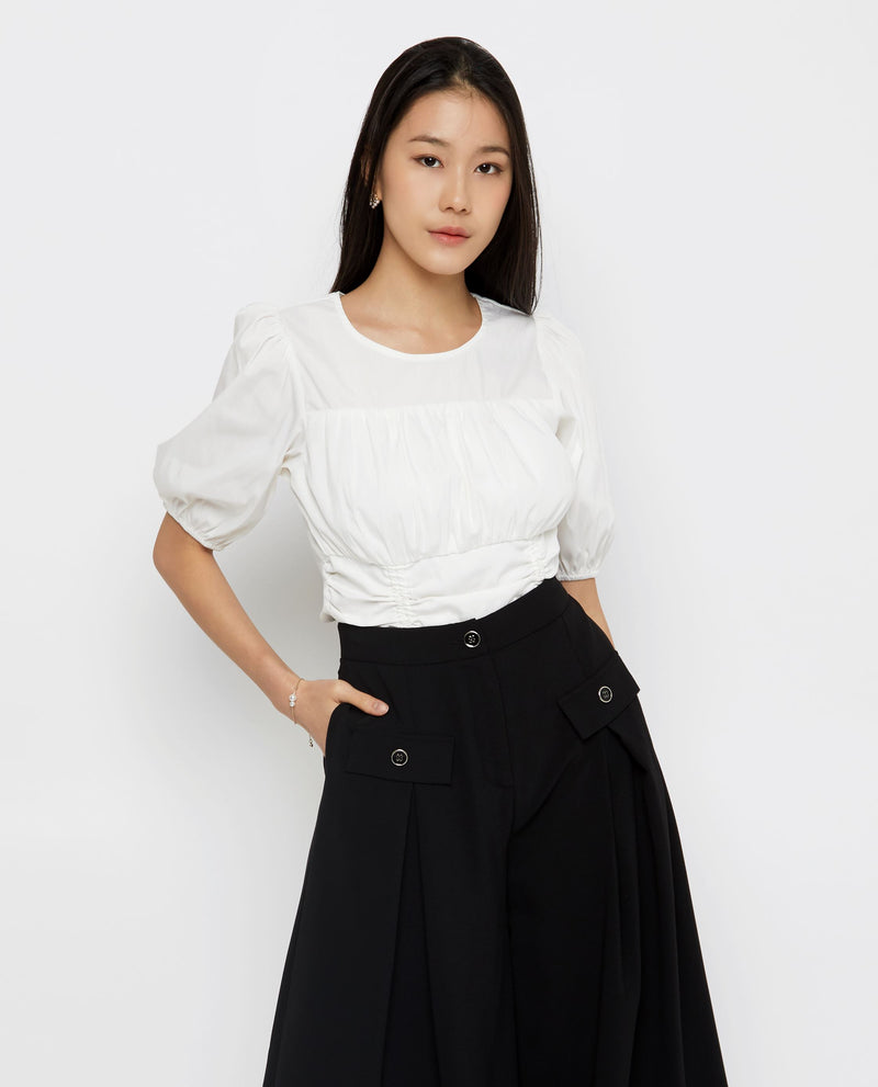 Rory Cinched-Waist Top Tops OSMOSE-STORES XS White
