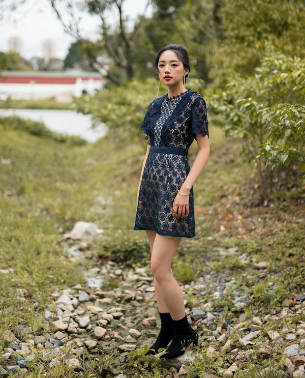 Rowena Embroidered Dress Short Dress OSMOSE-STORES XS Navy