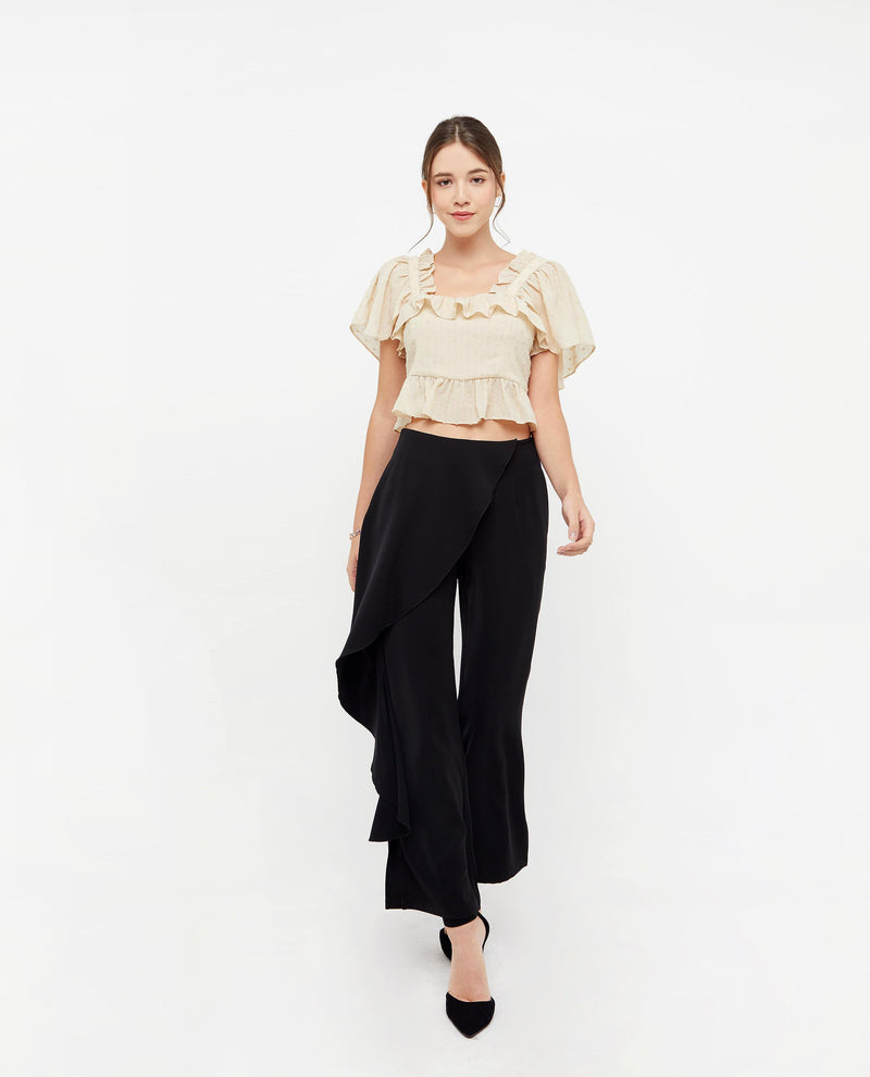 Rylie Flutter Pleat Pants Bottoms OSMOSE-STORES XS Black
