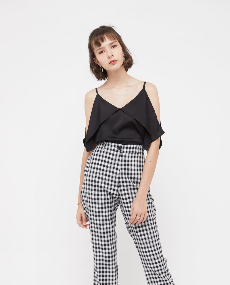 Trista Checkered Long Pants Bottoms OSMOSE-STORES