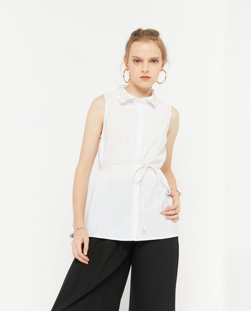 Unell Lace Collared Blouse Tops OSMOSE-STORES XS White
