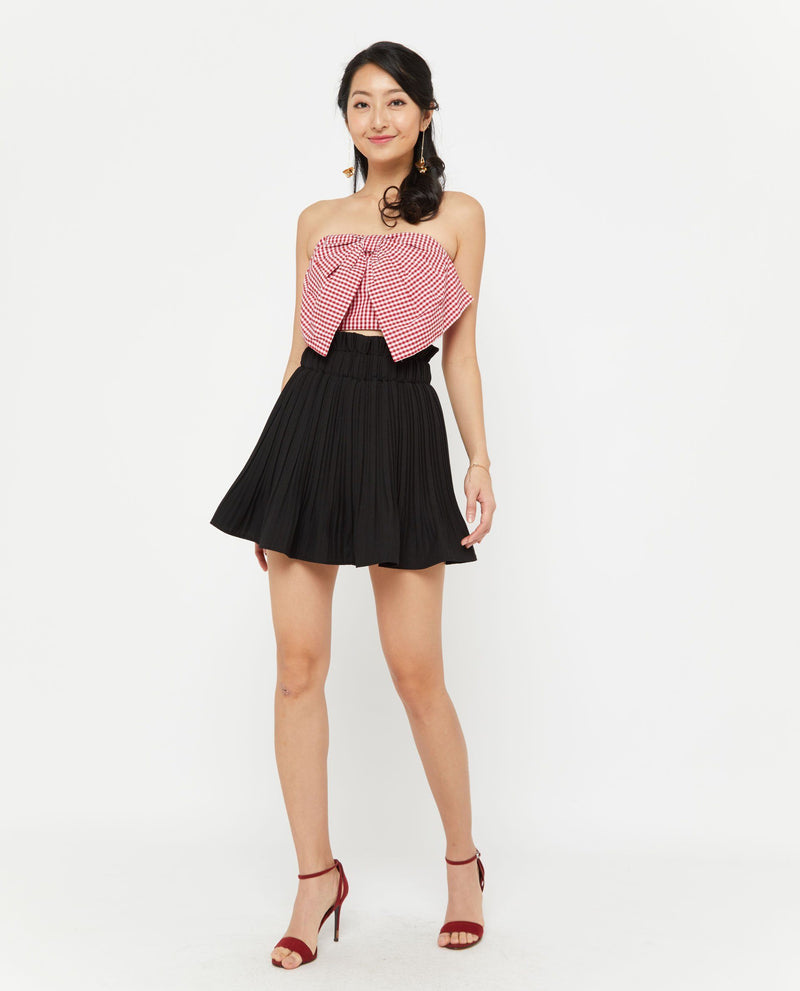 Uwon Checkered Bow Top Tops OSMOSE-STORES