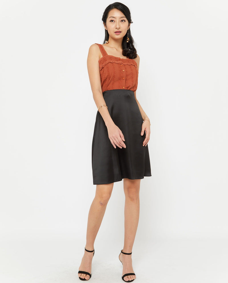 Veril Midi A Line Skirt Bottoms OSMOSE-STORES