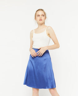 Veril Midi A Line Skirt Bottoms OSMOSE-STORES XS Blue