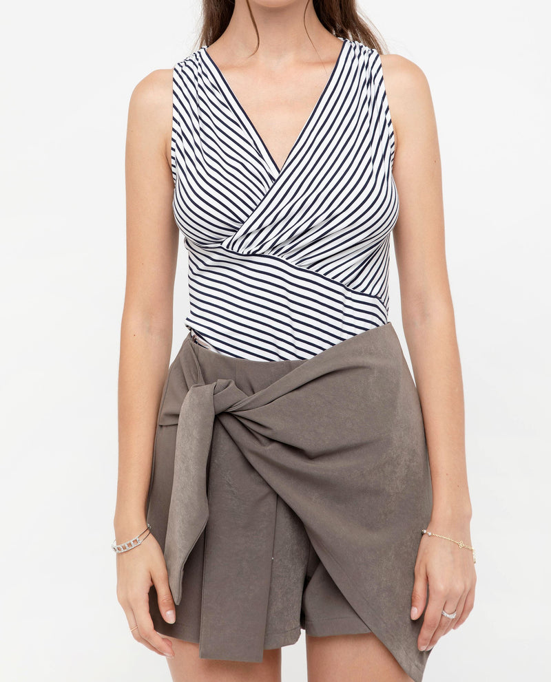 Vezna Stripe Wrap Top Tops OSMOSE-STORES