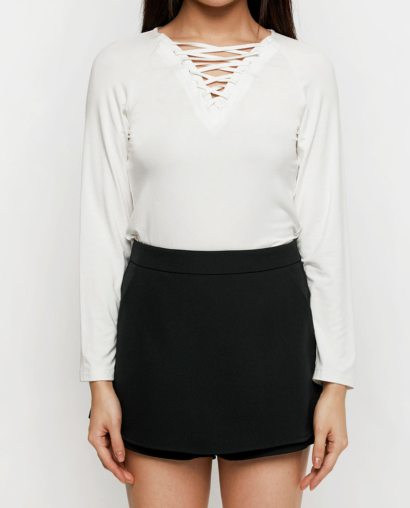 Via Laced-up Jersey Top Tops OSMOSE-STORES