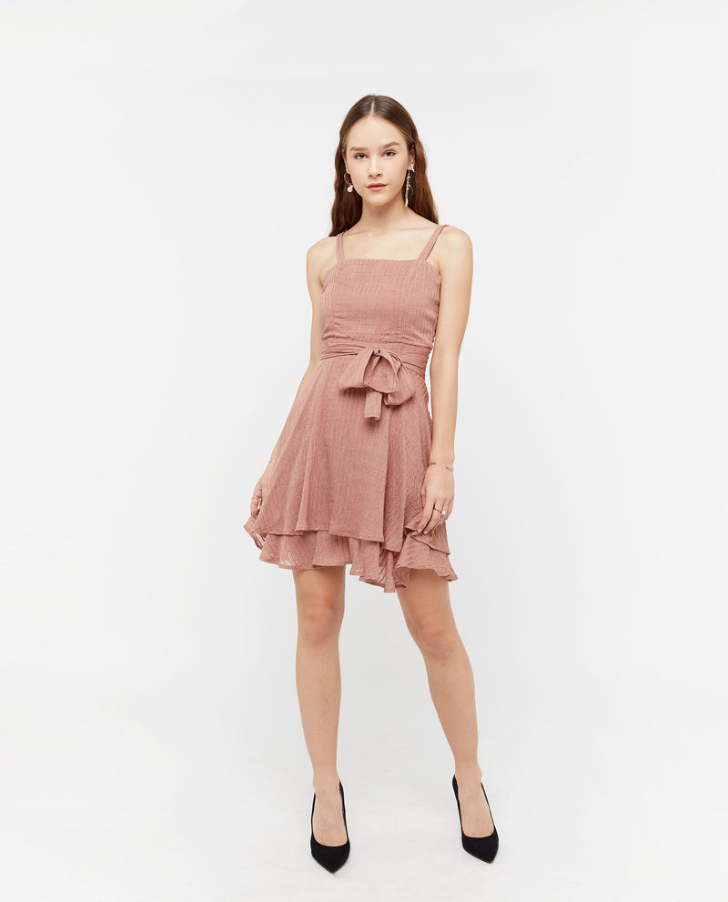 Vikki Layered Flutter Dress Dresses OSMOSE-STORES XS Pink