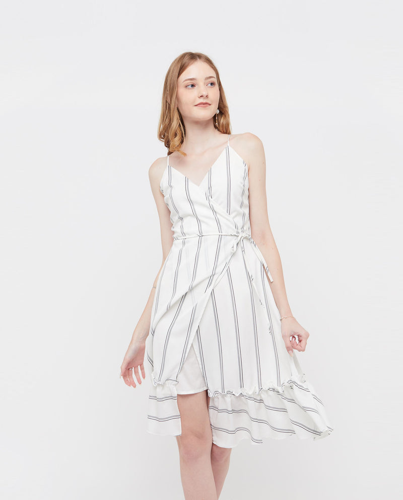 Violina Stripe Dress Dresses OSMOSE-STORES XS White
