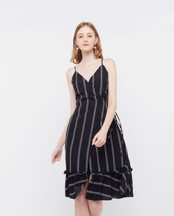 Violina Stripe Dress Dresses OSMOSE-STORES XS Black