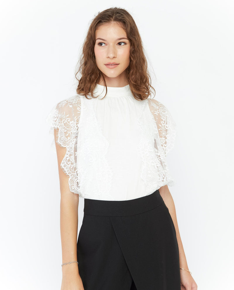 Vyona Lace Jersey Top