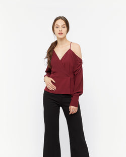 Wuno Sleeve Cut Top Tops OSMOSE-STORES XS Red