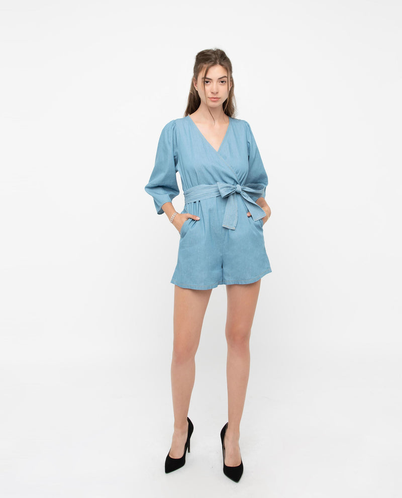 Xavion Denim Wrap Romper One-piece suits OSMOSE-STORES